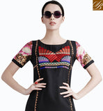 MARK YOUR PRESENCE BY WEARING THIS BLACK GEORGETTE TOP. STYLISH DESIGN AND UNIQUE COMBINATION OF EMBROIDERY AND PRINT MAKES THIS TOP IRRESISTIBLE