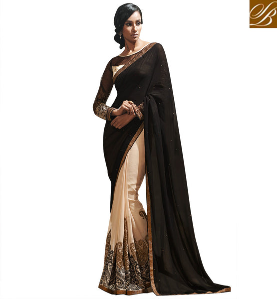 BLOUSE DESIGN LATEST GEORGETTE SAREES SHOPPING NEW FASHION PARTY WEAR SARI DESIGN WITH CHOLI