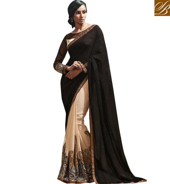 FROM STYLISH BAZAAR MAGNIFICENT DUAL COLOR DESIGNER SAREE VDCHP37002
