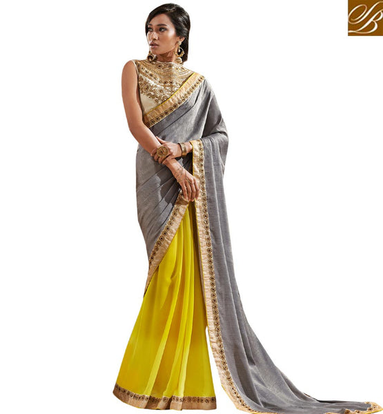 FROM THE STYLISH BAZAAR MARVELOUS HALF AND HALF SAREE DESIGN VDCHP37005