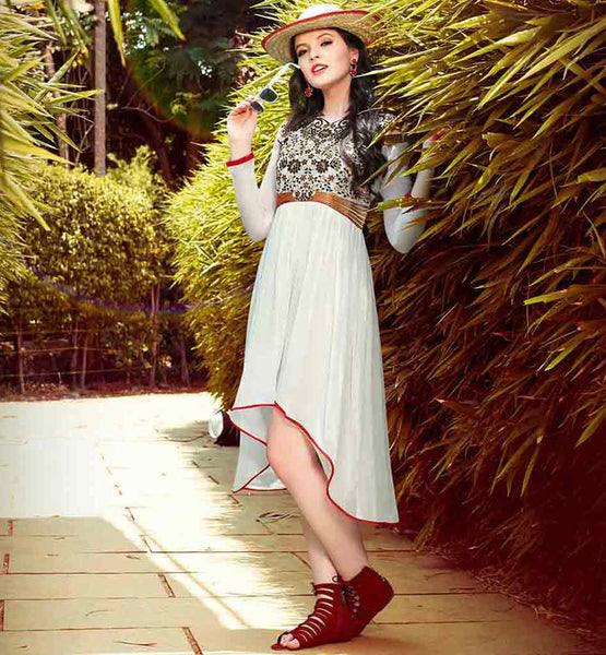 STYLISH GEORGETTE ASYMMETRIC CUT  KURTI TOP OFF WHITE COLOR DESIGNER TUNIC WITH NICE EMBROIDERY