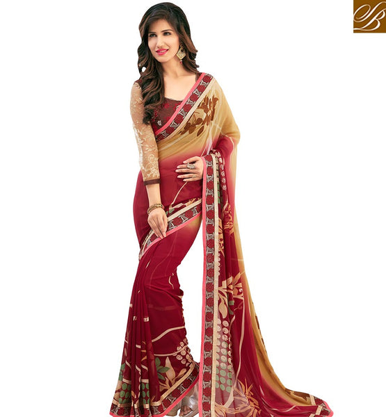 STYLISH BAZAAR AMAZING MAROON COLORED CASUAL WEAR SAREE AMMD3701