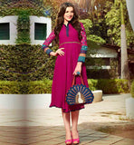 BUY LATEST 2015 KURTI DESIGNS AT BEST PRICE DARK PINK COLOR PURE GEORGETTE FABRIC TUNIC WITH EMBROIDERY ON SLEEVES