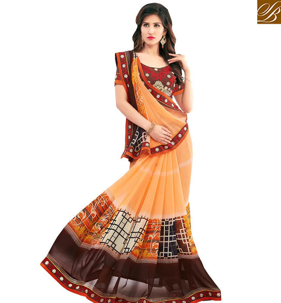 STYLISH BAZAAR MODISH LIGHT ORANGE COLORED CASUAL WEAR SAREE AMMD3702