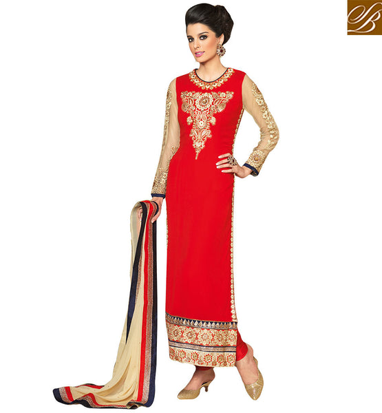 CUTE STRAIGHT CUT SALWAAR KAMEEZ DESIGN STYLE VIP3702 BY RED