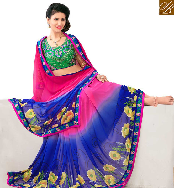STYLISH BAZAAR BEAUTIFUL PINK AND BLUE COLORED FLORAL PRINTED SAREE AMMD3703