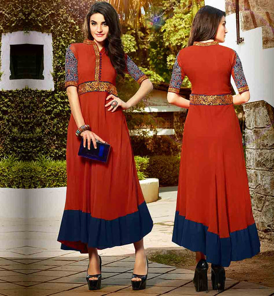 EVER STYLISH LONG KURTI DESIGNS FOR WOMEN MUSTARD COLOR PURE GEORGETTE TOP WITH STUNNING EMBROIDERED