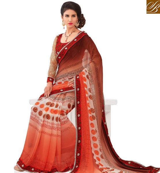 STYLISH BAZAAR STRIKING PEACH & BROWN COLORED PRINTED SAREE AMMD3704