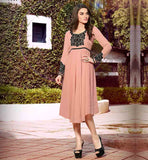 TRENDY KURTI ONLINE SHOPPING WITH CASH ON DELIVERY  DUSTY PINK COLOR PURE GEORGETTE PLEATED NECKLINE