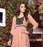 DUSTY PINK COLOR PURE GEORGETTE PLEATED NECKLINE KURTI STYLISH CUT DESIGN AND CONTRAST THREAD WORK ON NECK AND