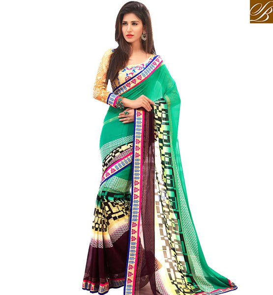 STYLISH BAZAAR CHARMING SEA GREEN COLORED CASUAL WEAR SAREE AMMD3705