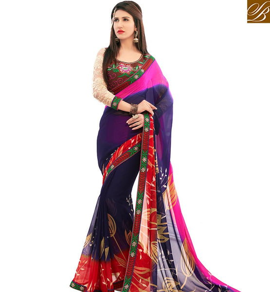 STYLISH BAZAAR ALLURING MULTICOLORED FLORAL PRINTED CASUAL WEAR SAREE AMMD3706