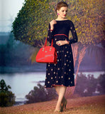 STYLISH KNEE HEIGHT KURTI ONLINE SHOPPING BLACK COLOR PURE GEORGETTE TOP WITH NICE NECK DESIGN AND