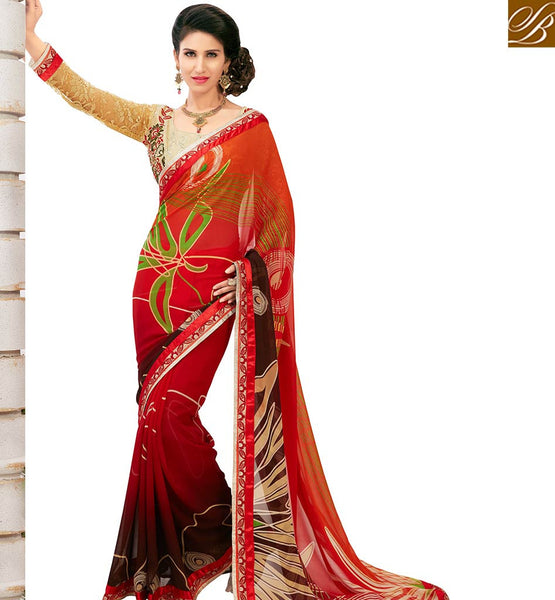 STYLISH BAZAAR ATTRACTIVE RED COLORED CASUAL WEAR PRINTED SAREE AMMD3707