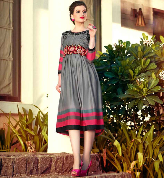 ONLINE SHOPPING OF DESIGNER PARTY WEAR KURTI  GREY COLOR PURE BAMBERG GEORGETTE FABRIC KURTI