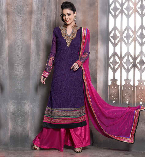 SHALWAR KAMEEZ FOR LADIES AT AFFORDABLE PRICE  LOVELY PURPLE LONG KAMEEZ WITH CONTRAST PINK SALWAR AND CHIFFON DUPATTA