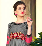 GREY COLOR PURE BAMBERG GEORGETTE FABRIC KURTI THIS KURTI HAS PLEATS ON YOKE PORTION WITH BLACK EMBROIDERY