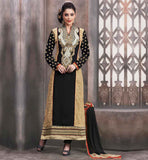 LATEST SALWAR KAMEEZ DESIGN 2015 FOR INDIAN WOMEN  BEIGE AND BLACK GEORGETTE STRAIGHT CUT SUIT WITH INNER, SANTOON SALWAR AND CHIFFON DUPATTA