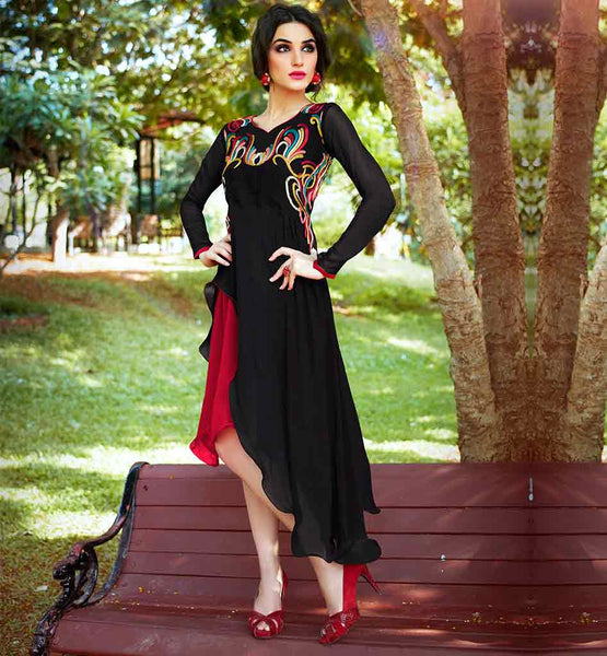 PREMIUM WOMEN'S PARTY WEAR KURTI ONLINE SHOPPING AWESOME BLACK AND RED ASYMMETRIC CUT KU