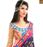 STYLISH BAZAAR PRESENTATION NICE LOOKING PINK AND NAVY BLUE COLORED PRINTED SAREE AMMD3709