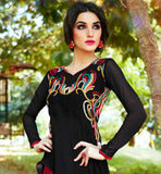 AWESOME BLACK AND RED ASYMMETRIC CUT KURTI  PURE GEORGETTE TUNIC WITH NICE NECK DESIGN AND STUNNING MULTICOLOR