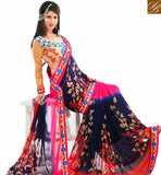 STYLISH BAZAAR NICE LOOKING PINK AND NAVY BLUE COLORED PRINTED SAREE AMMD3709