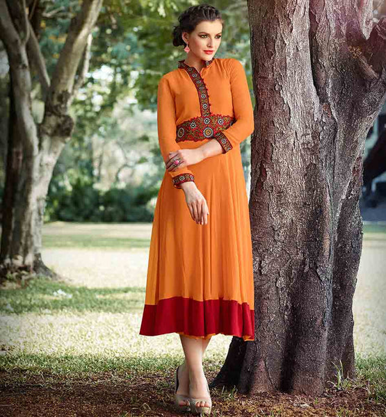 EVER STYLISH GEORGETTE KURTI ONLINE SHOPPING BOLD ORANGE TUNIC WITH WAISTLINE AND SLEEVES
