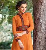 BOLD ORANGE TUNIC WITH WAISTLINE AND SLEEVES PURE GEORGETTE TOP WITH TRENDY NECKLINE AND RED COLOR BROAD BORDER