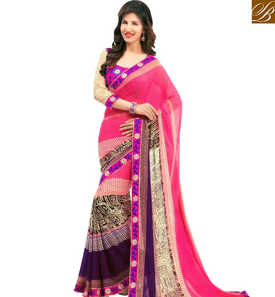 STYLISH BAZAAR EYE CATCHING PINK COLORED SAREE WITH BEAUTIFUL BORDER WORK AMMD3710