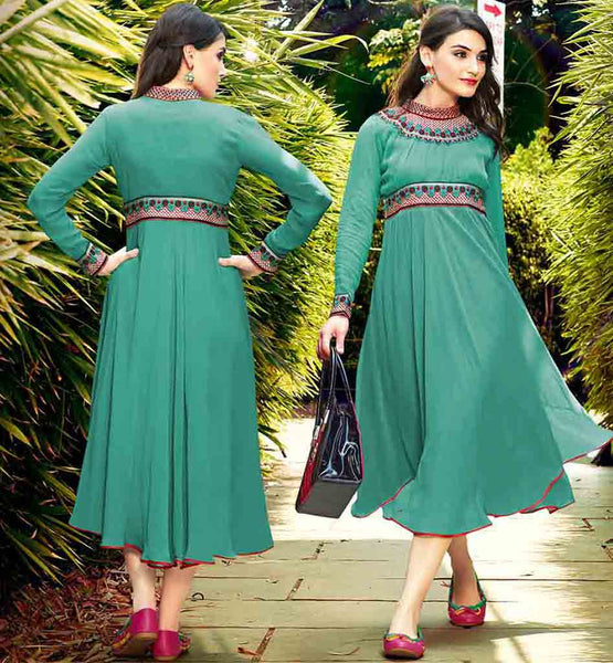 STYLISH BAZAAR FULL SLEEVES KURTI ONLINE SHOPPING SEA GREEN PURE GEORGETTE TOP WITH BANDHGALA DESIGN AND PLEATED NECKLINE