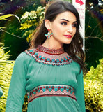 SEA GREEN PURE GEORGETTE TOP WITH BANDHGALA DESIGN AND PLEATED NECKLINE STUNNING EMBROIDERY AROUND THE NECK PORTION AND