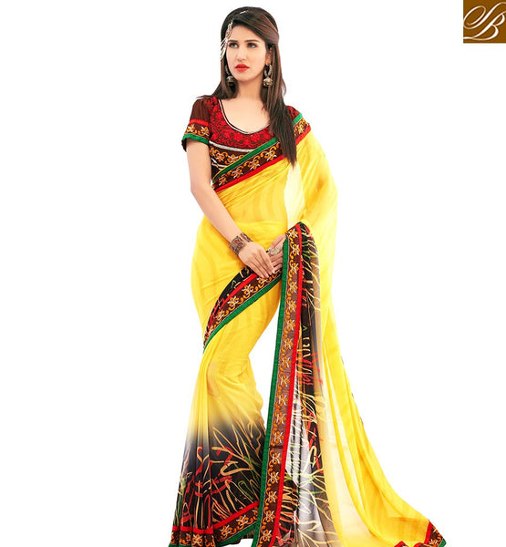 STYLISH BAZAAR TRENDY YELLOW COLORED CASUAL WEAR SAREE AMMD3711