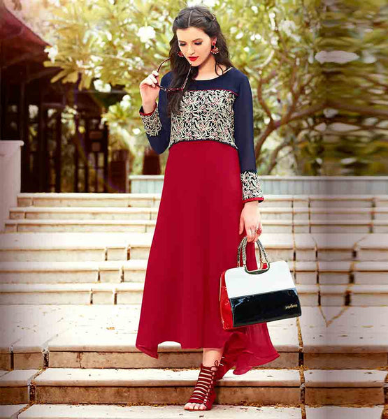 LONG FROCK STYLE KURTI ONLINE SHOPPING IN INDIA RED AND NAVY BLUE PURE GEORGETTE TOP FOR WOMEN