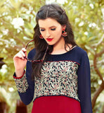 RED AND NAVY BLUE PURE GEORGETTE TOP LONG FROCK STYLE KURTI ONLINE SHOPPING FOR WOMEN  THIS LOVELY KURTHI HAS BEAUTIFUL OFF WHITE AND RED EMBROIDERY WORK AROUND YOKE AND SLEEVES