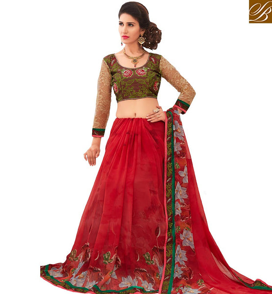 LOVELY RED COLORED FLORAL PRINTED DESIGNER SAREE AMMD3712
