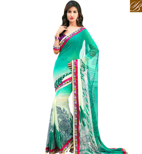 STYLISH BAZAAR OUTSTANDING SEA GREEN COLORED CASUAL WEAR SAREE AMMD3714