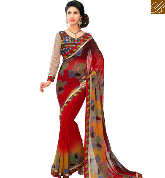 STYLISH BAZAAR CATCHY RED COLORED PRINTED SAREE AMMD3715