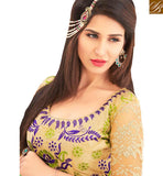 TEMPTING YELLOW & GREEN COLORED DESIGNER SAREE AMMD3716