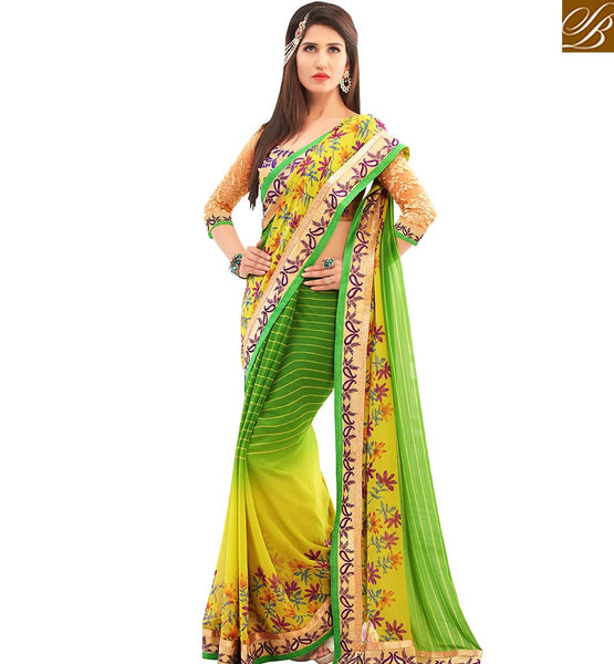 STYLISH BAZAAR TEMPTING YELLOW & GREEN COLORED DESIGNER SAREE AMMD3716
