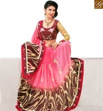 STYLISH BAZAAR APPEALING PINK COLORED DESIGNER SAREE AMMD3718