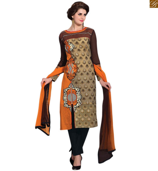 Neck designs for salwar kameez pattern of ladies party wear cream and chikoo art-silk, georgette and net boat type neck designer dress with black cotton bottom Image
