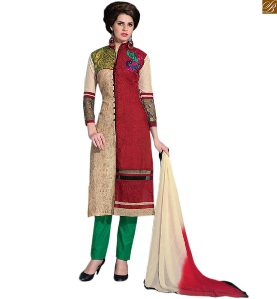 Stylish ladies suits pakistani designer salwar kameez dupata cream and maroon art-silk half & half type front design amazing party wear salwar kameez with green cotton bottom Image