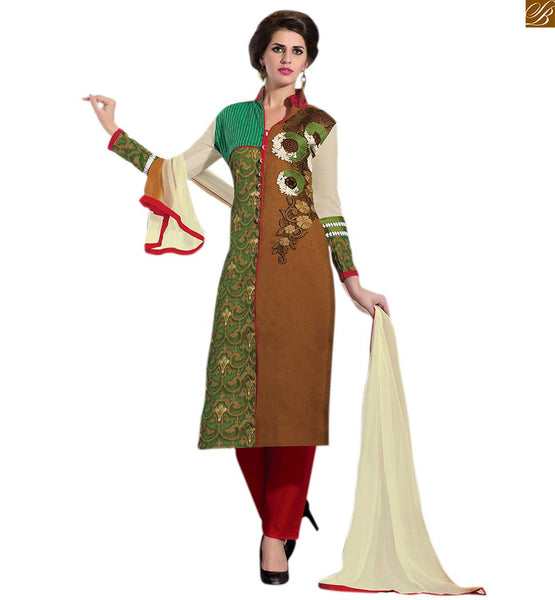 New salwar kameez pakistani designer dress party outfits online brown and green art-silk half and half type front designer salwar kameez with maroon cotton bottom Image