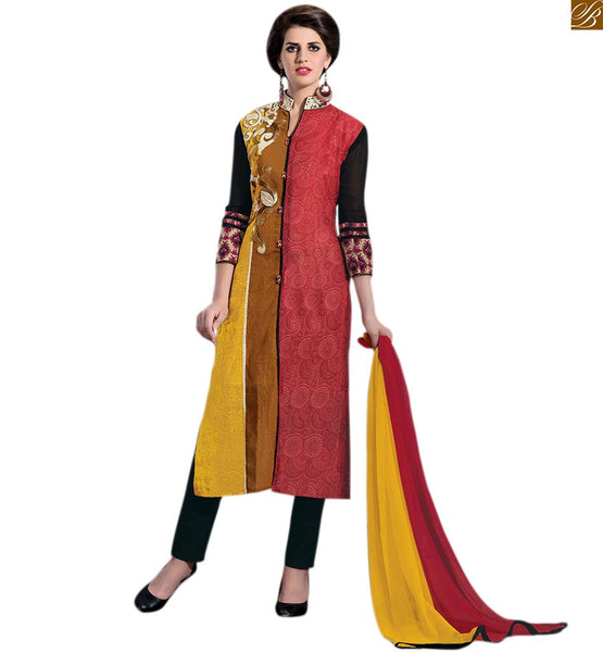Salwar kameez neck design straight suit pattern for party wear pink-yellow art-silk and georgette half and half type front design salwar kameez with black cotton bottom Image