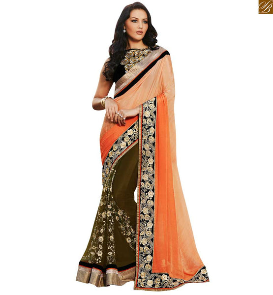 STYLISH BAZAAR ORANGE AND GREEN COLORED EMBROIDERED SARI WITH A CREAM BLOUSE ANOB38