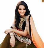 STYLISHBAZAAR ORANGE AND GREEN COLORED EMBROIDERED SARI WITH A CREAM BLOUSE ANOB38