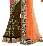 FROM STYLISH BAZAAR ORANGE AND GREEN COLORED EMBROIDERED SARI WITH A CREAM BLOUSE ANOB38