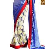 EYE CATCHING EVERSTYLISH INDIAN SAREE STYLE BLUE COLOR ABSTRACT PRINT AT LOWER PART AND AMAZING COLOR BORDER WORK SAREE EVERSTYLISH SAREES AND CUTE BLOUSE DESIGNS LATEST FASHION WEAR