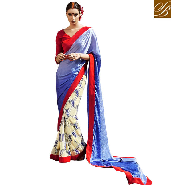 EVERSTYLISH SAREES AND CUTE BLOUSE DESIGNS LATEST FASHION WEAR RED AND BLUE SATIN, JACQUARD AND GEORGETTE CASUAL SAREE WITH RED BHAGALPURI BLOUSE