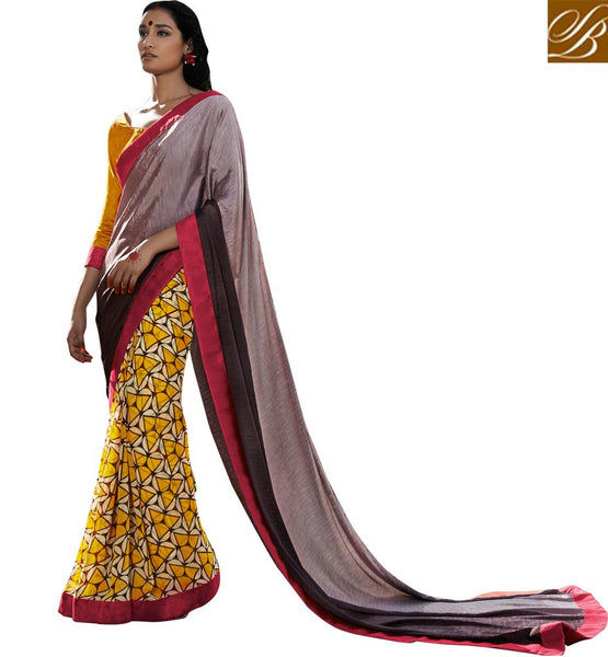 SAREE DRESSES SMART COMBO WITH ETHNIC WEAR INDIAN BLOUSE DESIGNS DULL WINE, BROWN AND YELLOW SATIN CASUAL SAREE WITH MUSTARD BHAGALPURI DESIGNER BLOUSE